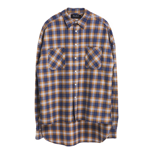 [BLEDITION_블레디션] OVERSIZE MADRID PLAID SHIRTS YELLOW/NAVY