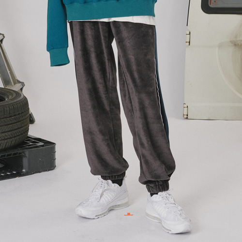 로너 Velvet track pants_dark gray