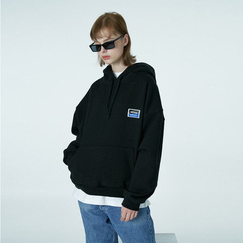 앤커버 NCOVER Square patch hoodie-black