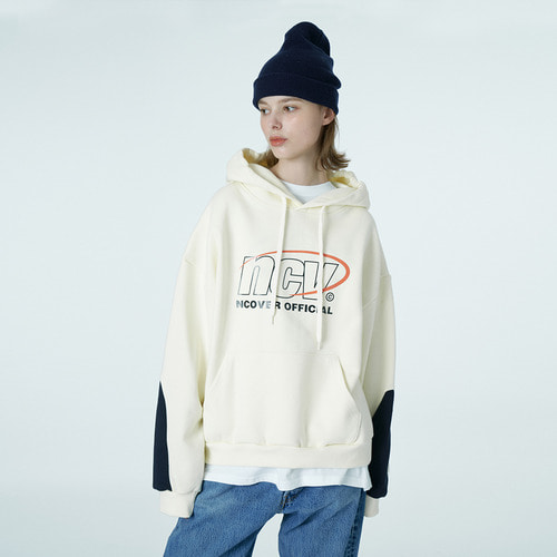 앤커버 NCOVER Color sleeve point hoodie-ivory