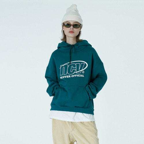앤커버 NCOVER Back logo point hoodie-emerald