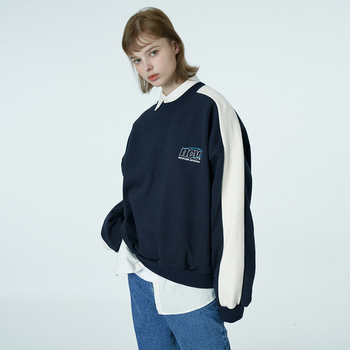 앤커버 NCOVER Quarter ellipse logo sweatshirt-navy