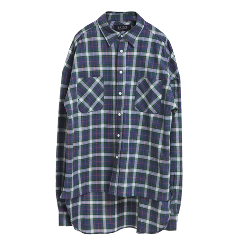 [BLEDITION_블레디션] OVERSIZE MADRID PLAID SHIRTS GREEN/PURPLE