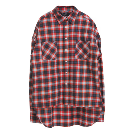 [BLEDITION_블레디션] OVERSIZE MADRID PLAID SHIRTS RED/BLACK