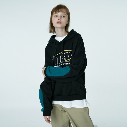 앤커버 NCOVER Color sleeve point hoodie-black
