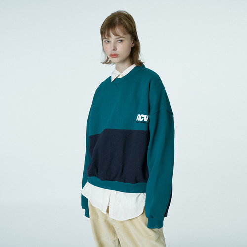 앤커버 NCOVER Two tone point sweatshirt-emerald