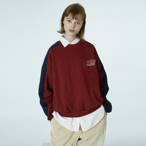 앤커버 NCOVER Quarter ellipse logo sweatshirt-wine