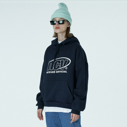앤커버 NCOVER Back logo point hoodie-navy